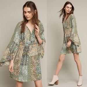 Anthro Floreat Green Amelia Silk Kimono Dress 0